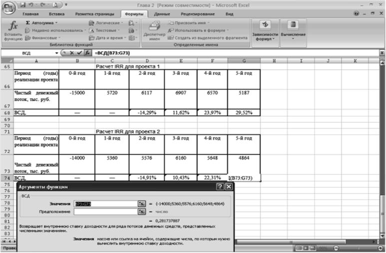 Электронная таблица расчета показателя IRR проектов