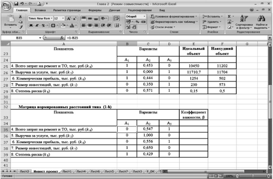 Вычисление матрицы нормированных расстояний (1 - Ь)