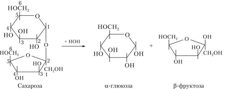 Схема гидролиза сахарозы