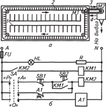 электрическая принципиальная схема управления ленточным погрузочным транспортером