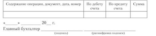 Мемориальный ордер № 1 записать за_20_г., образец
