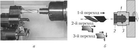 Обработка внутренней полости втулки в три перехода