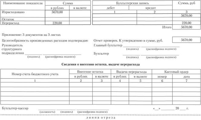 авансовый отчет 0504049 образец заполнения