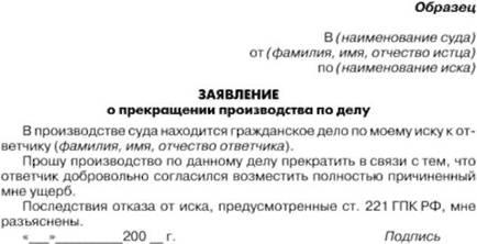 Заявление о прекращении исполнительного производства.